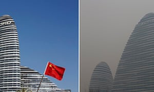 A combination picture shows a commercial building on a sunny day (left) and a polluted day in Beijing.
