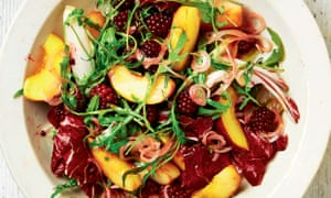Yotam Ottolenghi's bittersweet peach and pickled blackberry salad.