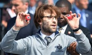 Simon Brodkin with Nazi golf balls