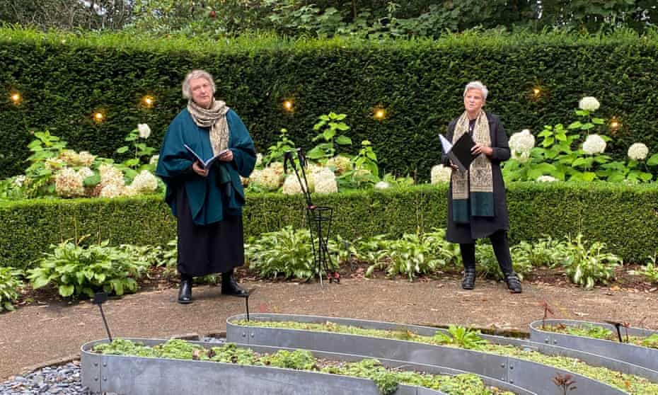 'Giving a plain-speaking voice to an inexpressible loss' … Jo Clifford and Lesley Orr perform the Covid Requiem.