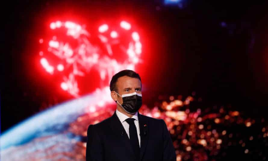 Macron at the inaugural event for the Conference on the Future of Europe at the European parliament in Strasbourg on Sunday