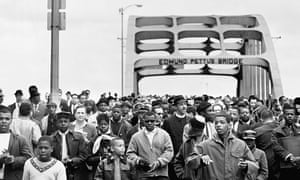 Civil rights activists march across the Edmund Pettus Bridge, starting the second march to Montgomery.
