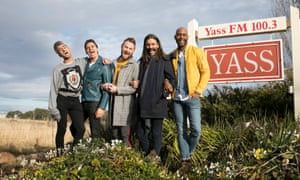 """The """"Fab Five"""" from Queer Eye in the rural town of Yass,. New South Wales, Australia."""