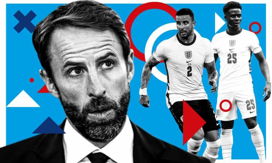 英格兰队主教练加雷斯·索斯盖特与凯尔·沃克和布卡约·萨卡。