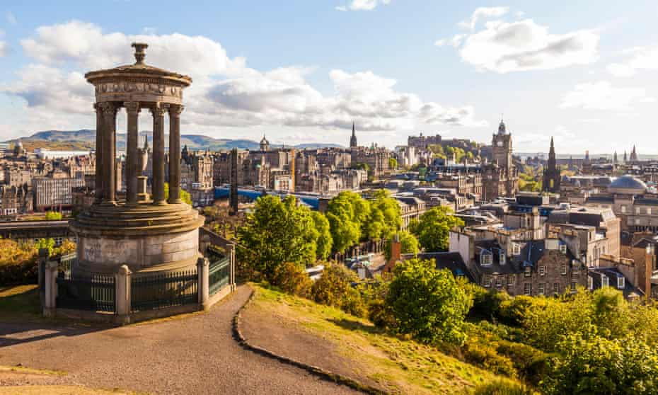 Dugald Stewart Monument, with a panoramic view of  Edinburgh