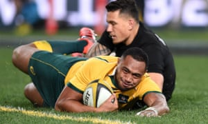 Sekope Kepu crosses over to score the opening try in Saturday's clash between the All Blacks and the Wallabies.