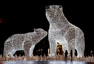 A seasonally decorated street with huge light sculptures of polar bears installed at the Gorky Park in Moscow, Russia.