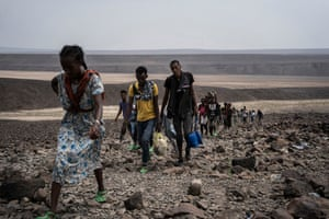 A photo taken in Galafi, on the border between Ethiopia and Djibouti, one of the hottest regions in the world. Hundreds of Oromo refugees fleeing Ethiopia cross the mountains to reach Djibouti