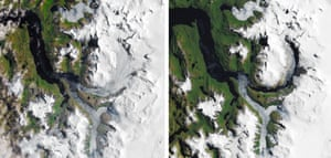 Southern Patagonia's rapidly dwindling icefield, pictured in 1985 and 33 years later