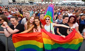 Young people celebrate in Trafalgar Square during the Pride London parade in June.