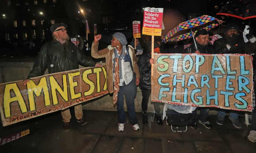 Protesters outside Downing Street in February this year. The mass deportation became a high-profile issue after a series of campaigns.