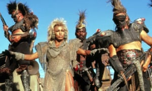 Tina Turner in chain mail and chicken wire, in Norma Moriceau's costumes for Mad Max: Beyond Thunderdome.