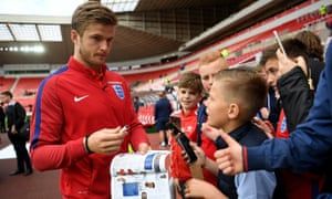 Eric Dier signs autographs ahead of England's 2-1 friendly victory over Australia at the Stadium of Light