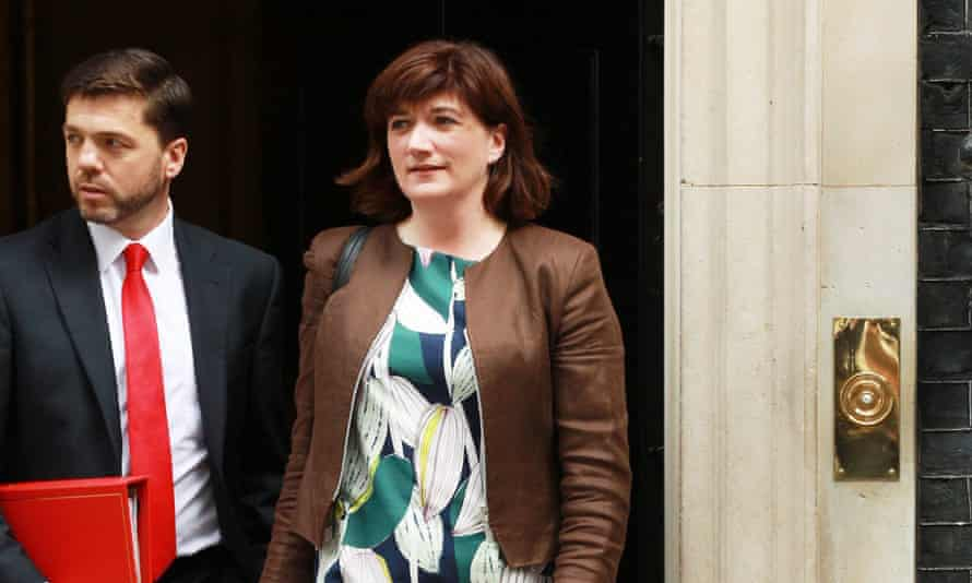 Nicky Morgan and Stephen Crabb leave No 10 after a cabinet meeting.