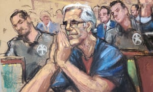 A court sketch made as Jeffrey Epstein looks on during a a bail hearing in New York in July.