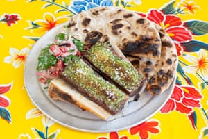 Homage to a London classic, with go-faster stripes: BAM's roasted bone marrow and onion and parsley salad.