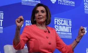 Pelosi on stage at the Peterson Foundation's annual fiscal summit in Washington on Tuesday.