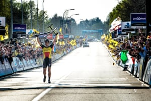 Philippe Gilbert celebrates winning the Tour of Flanders
