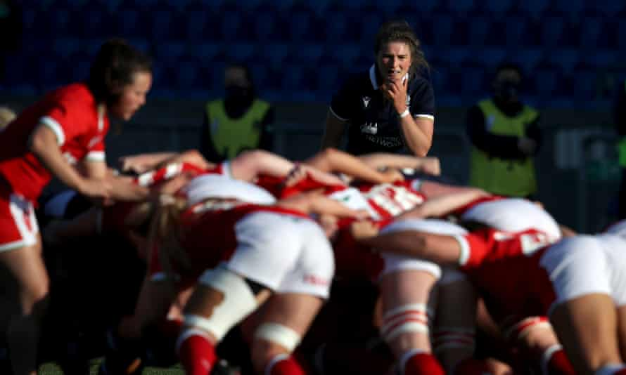 Scotland's captain, Helen Nelson, watches a scrum in her team's win against Wales.