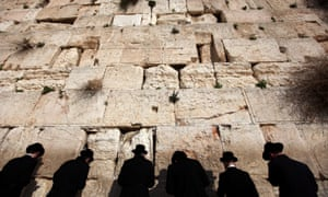 Ultra orthodox Jews hold prayers at the Western Wall in Jerusalem.