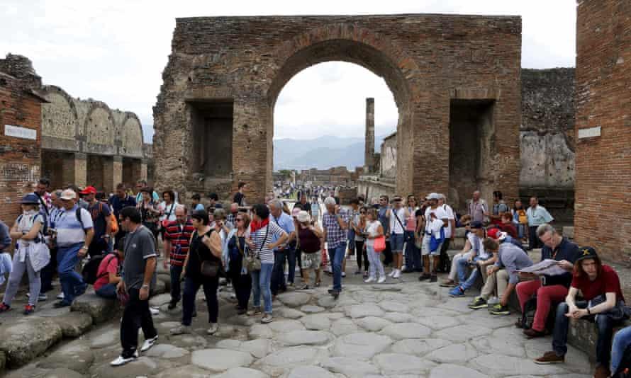 Tourists in Pompeii, Italy