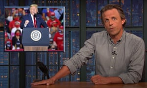 """Seth Meyers on Trump's indoor rally in Nevada: If you were actively trying to get people sick, this is how you would do it. The only way he could spread the virus more efficiently is to hold a rally at a meatpacking plant and charge one French kiss for admission."""""""