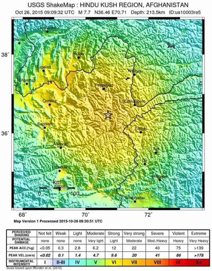 Map of the region in Afghanistan where the earthquake struck.