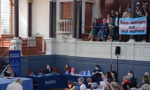 Demonstrators at Jenni Murray's talk at the Oxford Literary Festival, March 2017.