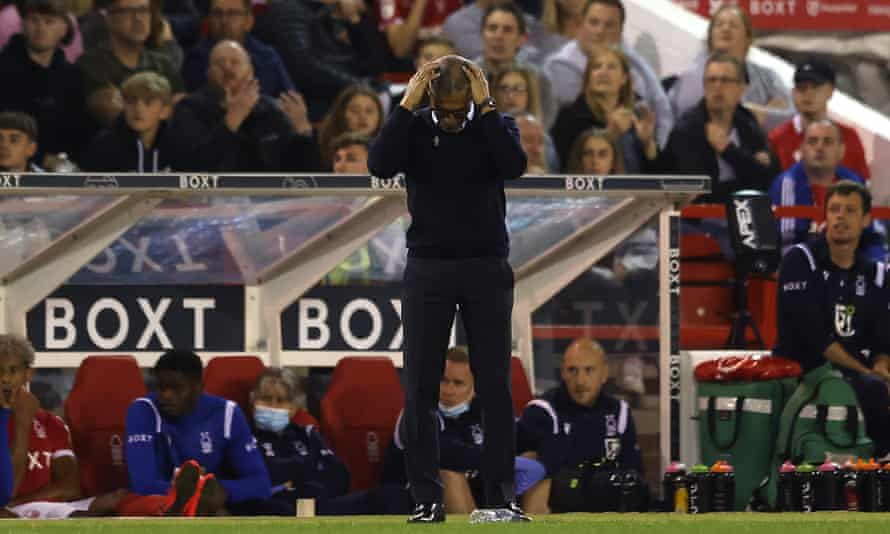 Chris Hughton can't watch as Nottingham Forest lose at home to Middlesbrough.