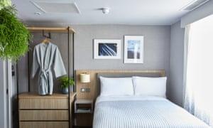 Double bedroom at Inhabit hotel, Paddington, London, UK