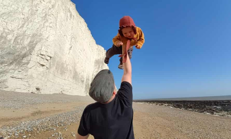 Guardian picture editor Joe Plimmer photographed with his son Stan on their last walk before lockdown at Cuckmere Haven, East Sussex.