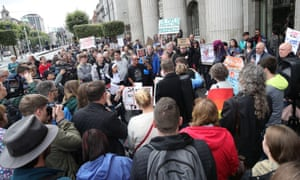 Protesters against clerical sex abuse assemble at the General Post Office on O'Connell Street in Dublin