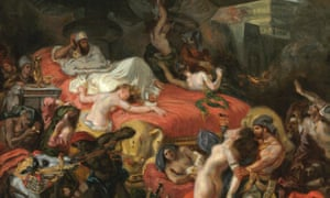A monstrous pink divan of amoral chaos? The Death of Sardanapalus (reduced replica) by Eugène Delacroix 1846.