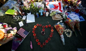 A makeshift memorial is pictured in the middle of Las Vegas Boulevard following the mass shooting.