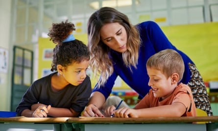 ▶ Mental health first aiders are trained to suport children through the emotional ups and downs of the school day photograph: gettyTeacher helping her young pupils in a class activity