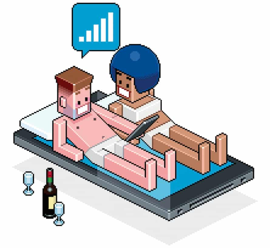 Illustration of a cartoon couple in bed