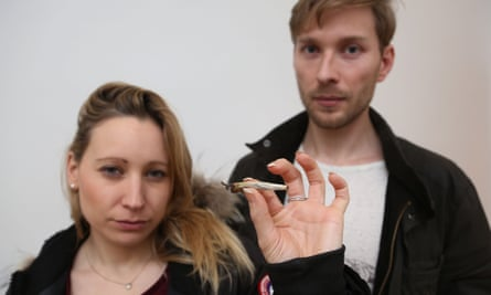 Christina McQuillan with a joint she says she found in her flat after she rented it out on Airbnb for New Year's Eve