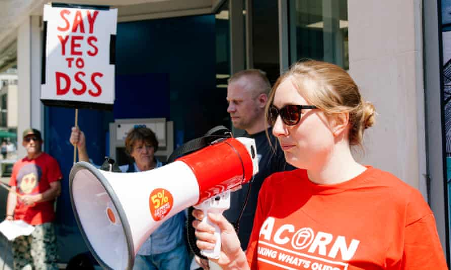 Anny Cullum of Acorn Bristol a tenants Union protests outside TSB bank