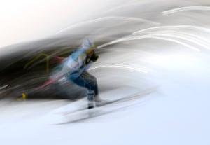 Barbara Jezersek of Australia competes in the women's cross country 7.5km + 7.5km skiathlon.