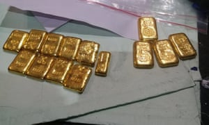 Some of the gold seized by authorities at Tamil Nadu airport on 8 October.