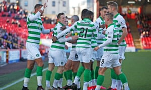 Celtic's Callum McGregor (second left) celebrates scoring his sides first goal.