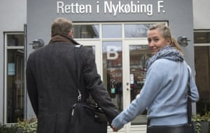 Lisbeth Zornig Andersen and her husband, Mikael, outside the court, in Nykobing Falster, Denmark, where they received a fine of 22,500 Danish Kroner for helping refugees to travel through Denmark.