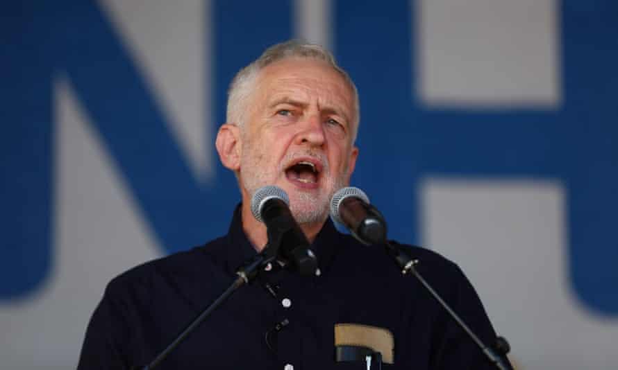 Jeremy Corbyn addresses demonstrators after the march