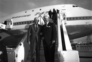 Bill Allen, president of Boeing and Juan Trippe, head of Pan Am (right), celebrate the launch of the 'Jumbo Jet'. The longtime friends sealed the purchase deal with a handshake while on a fishing trip.