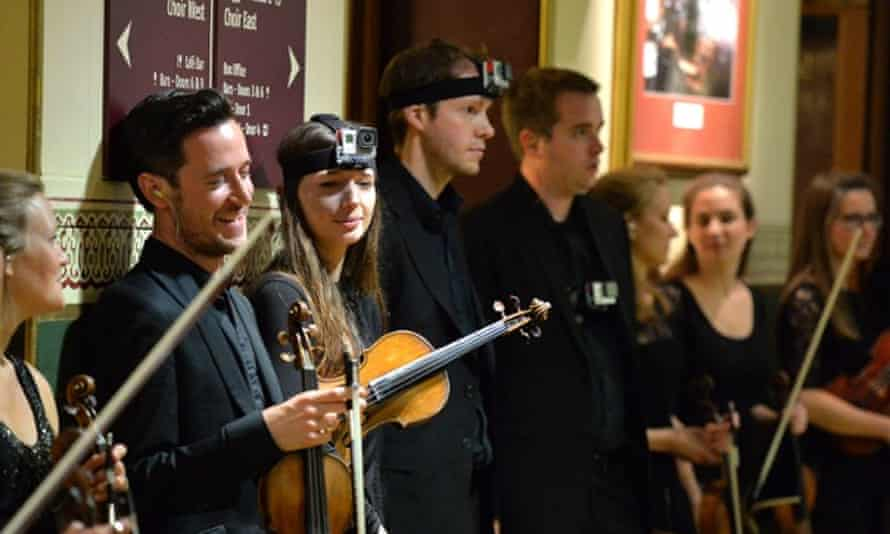Members of the Aurora orchestra wearing with GoPro cameras for their performance of Benedict Mason's Meld at the Proms, August 2014.