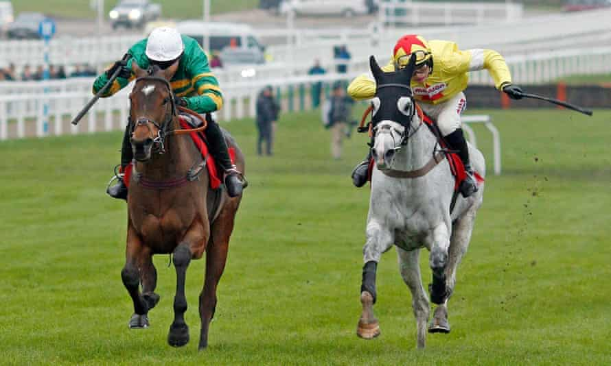 Defi Du Seuil, left, and Politologue fighting it out at Cheltenham last year.