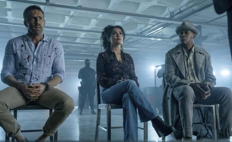 Hitman's Wife's Bodyguard Ryan Reynolds, Salma Hayek and Samuel L Jackson.
