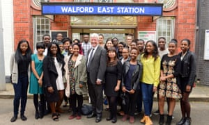 BBC director general Tony Hall with members of Creative Access on the set of EastEnders.