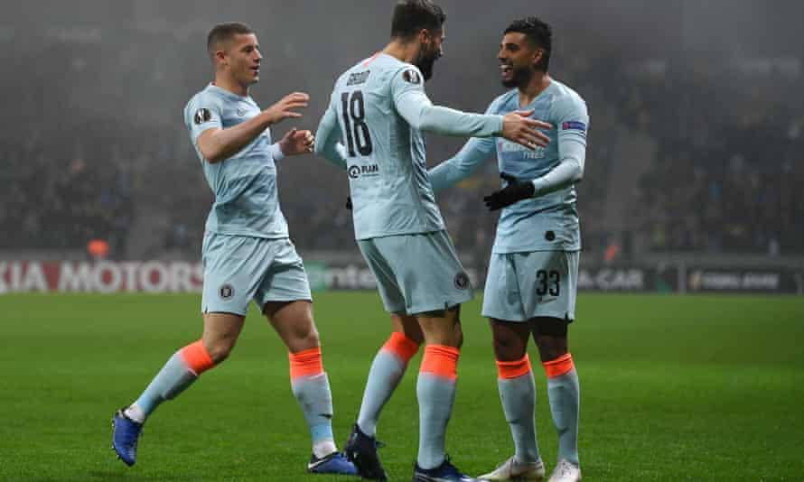 Olivier Giroud (centre)) celebrates after scoring as Chelsea beat BATE Borisov 1-0 in Belarus.