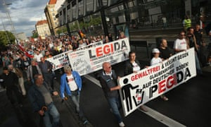 Pegida supporters march in Dresden, July 2015
